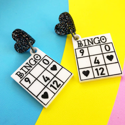 bingo card acrylic earrings