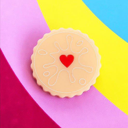 Jammy dodger biscuit acrylic brooch