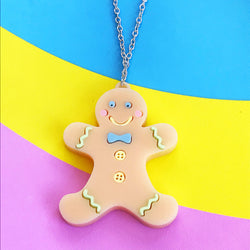 Perspex acrylic laser cut gingerbread necklace