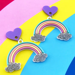 Pastel Rainbow glitter earrings