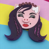Drag Queen Pig Brooch