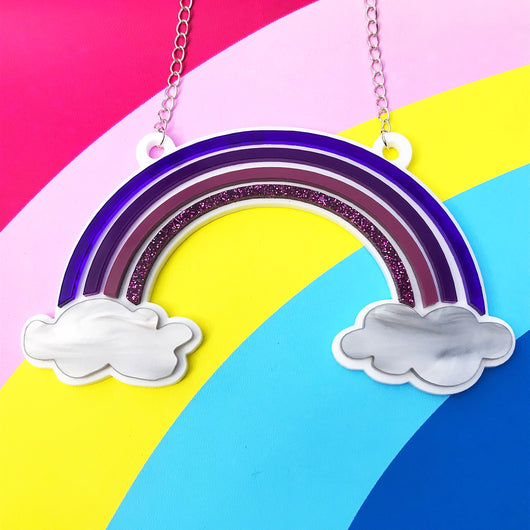 acrylic rainbow necklace in purple perspex