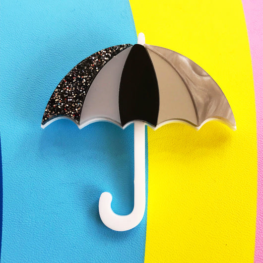 Laser cut acrylic umbrella brooch