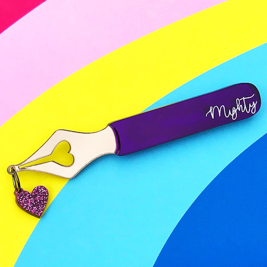purple laser cut acrylic pen brooch