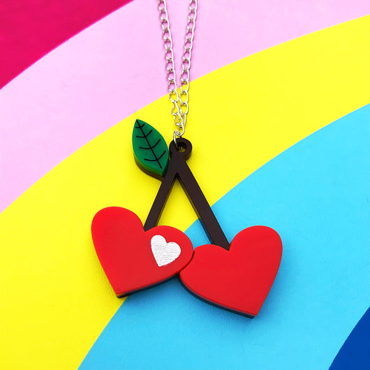 Laser cut acrylic cherry necklace