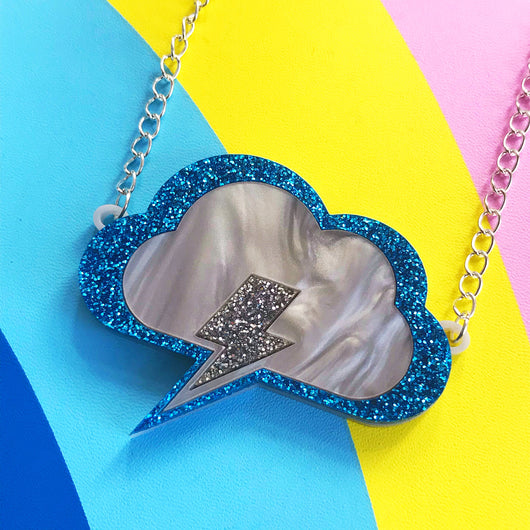 Laser cut Perspex acrylic cloud necklace