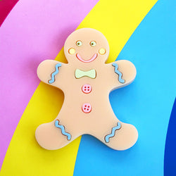 laser cut acrylic gingerbread man brooch