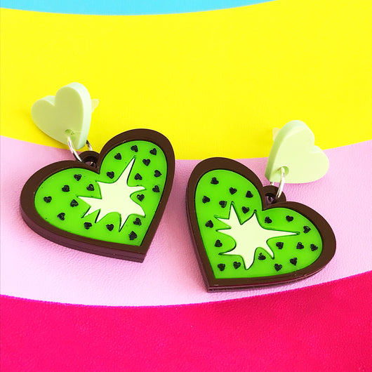 Perspex acrylic kiwi earrings