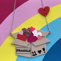Fragile hearts laser cut acrylic statement necklace