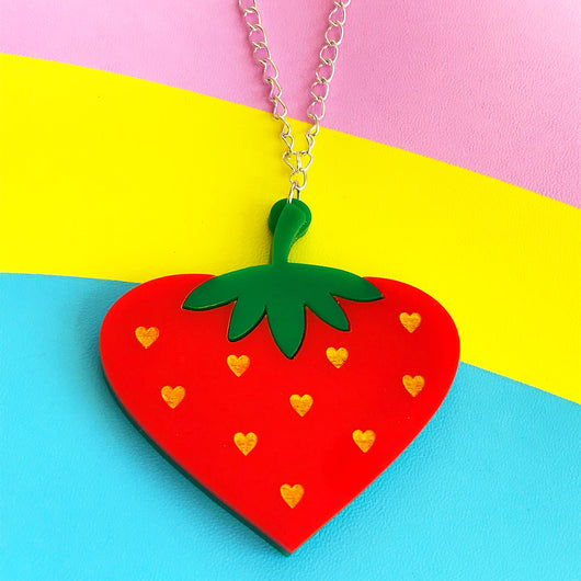 perspex acrylic strawberry necklace