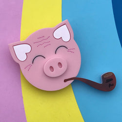 laser cut pig brooch