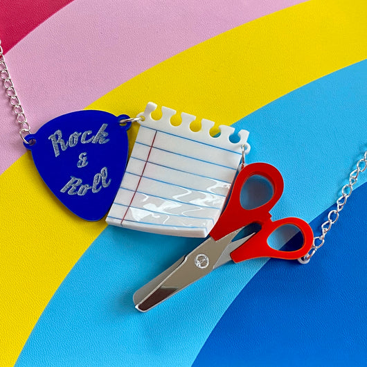 Acrylic plectrum, paper and scissors necklace