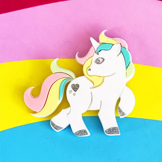 laser cut acrylic unicorn pony brooch