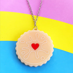 Acrylic perspex acrylic jammy dodger biscuit necklace