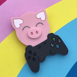 Gamer Pig brooch