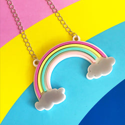 pastel acrylic rainbow necklace