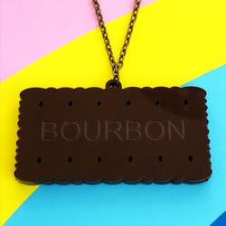 Laser cut acrylic bourbon biscuit necklace