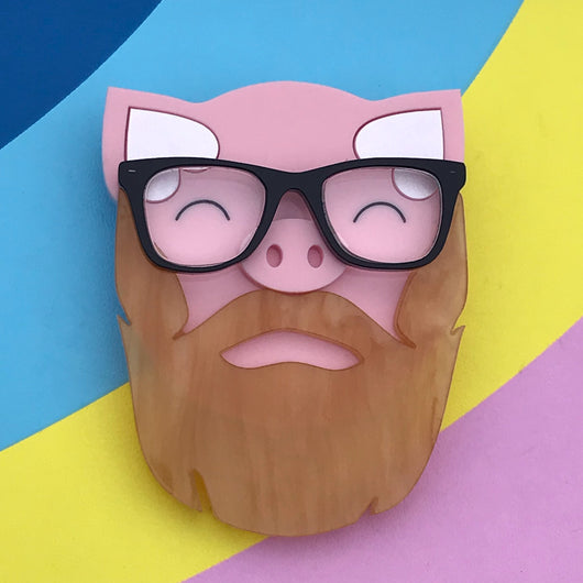 glasses wearing acrylic pig brooch