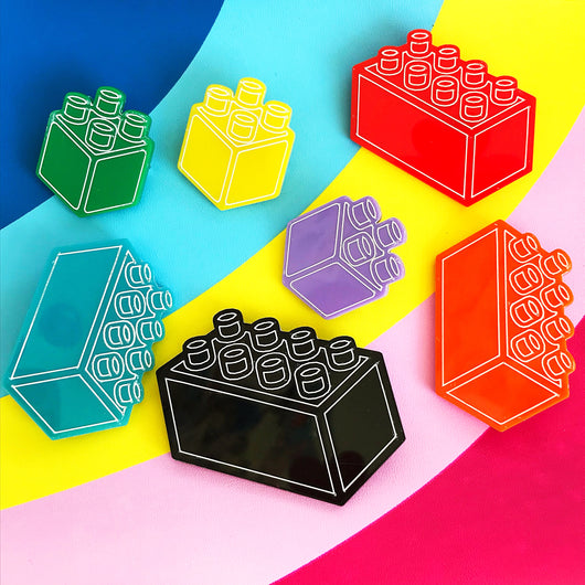 Colourful acrylic brick brooch