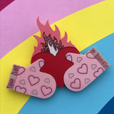 laser cut acrylic burning heart brooch