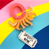 laser cut acrylic octopus brooch