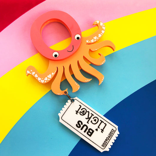 Octopus Catching a Bus Brooch