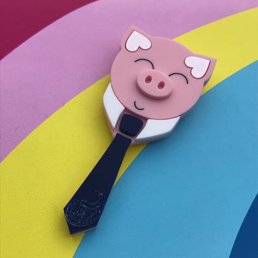 Business man acrylic pig brooch