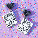 laser cut acrylic bingo and heart acrylic earrings