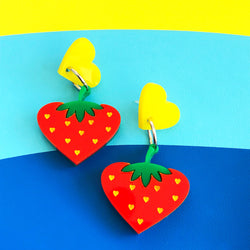 laser cut perspex acrylic strawberry earrings