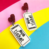 bus ticket acrylic earrings