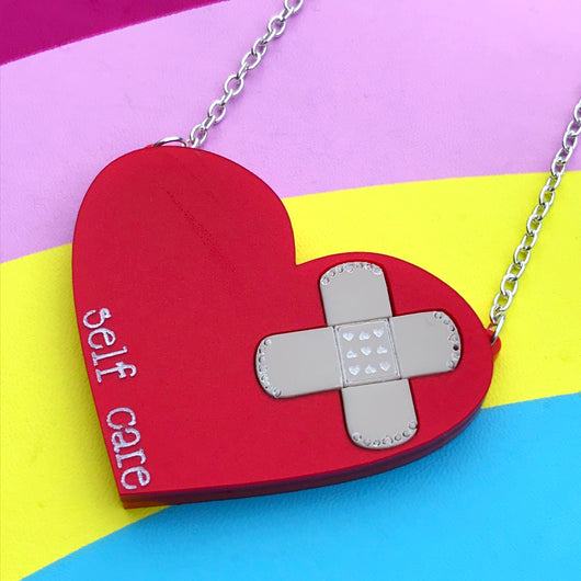 laser cut acrylic self care red heart necklace