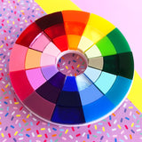 rainbow colour wheel acrylic brooch