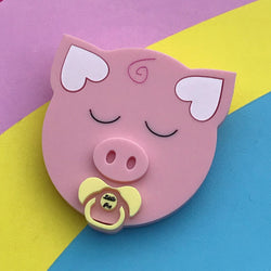 acrylic pig brooch with a dummy