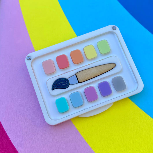 Pastel Paint Palette and Brush Acrylic Brooch