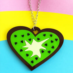 kiwi perspex acrylic necklace