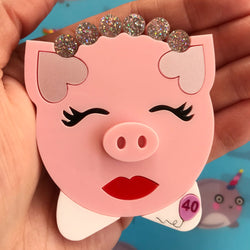Customisable Piggy Portrait Acrylic Brooch