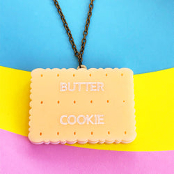 Butter cookie acrylic biscuit necklace