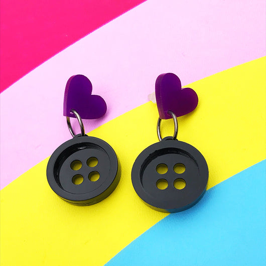 purple and black button acrylic earrings