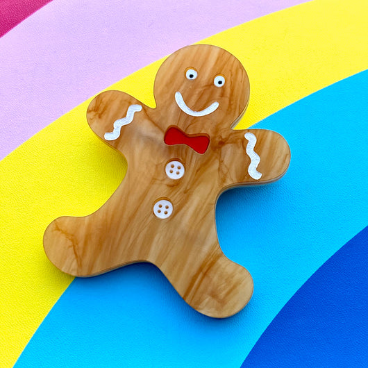 Acrylic gingerbread man brooch