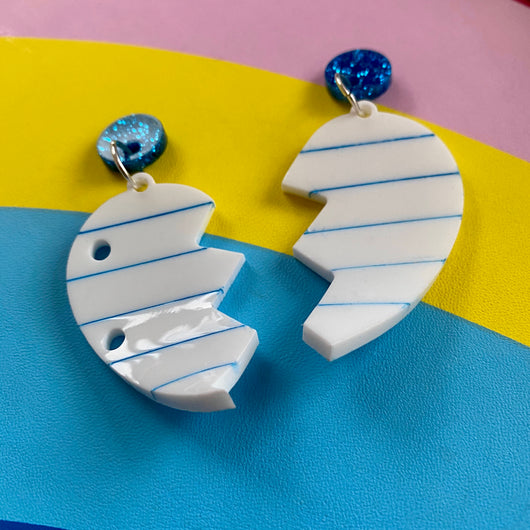 Acrylic paper heart earrings