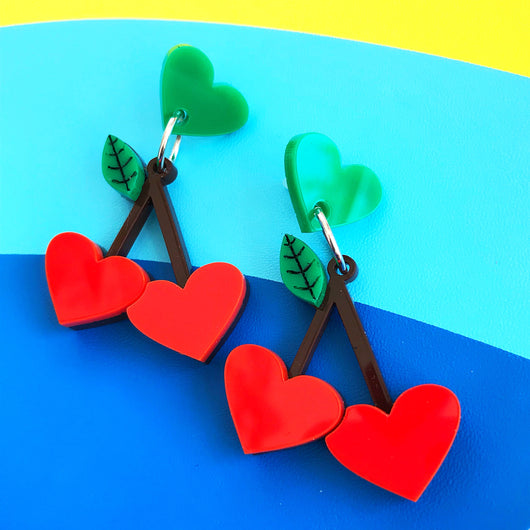 Perspex acrylic cherry earrings