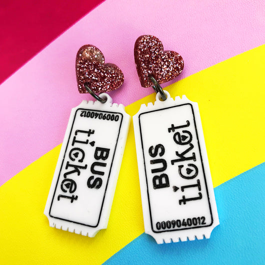 acrylic bus ticket earrings
