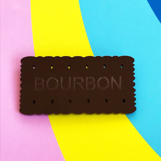 Bourbon biscuit acrylic brooch