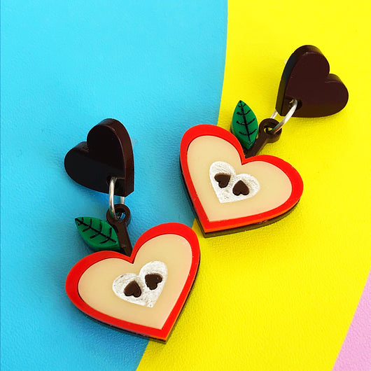 laser cut acrylic apple earrings