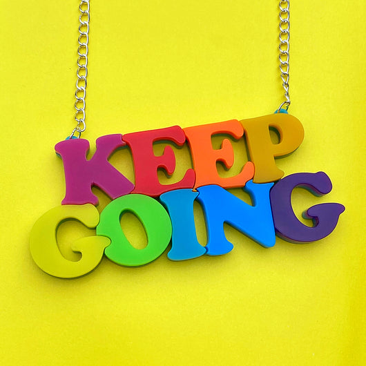 Keep Going bright acrylic necklace