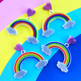 Rainbow laser cut acrylic earrings