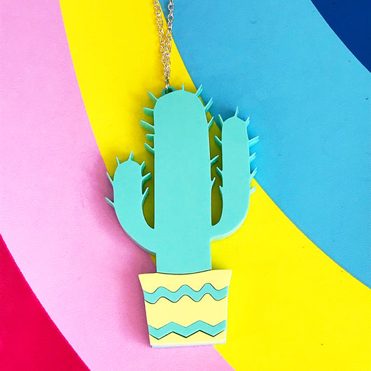 laser cut acrylic plant necklace
