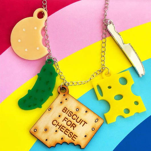laser cut acrylic cheese and biscuits necklace