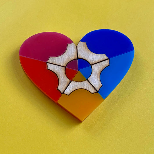 colourful pencil heart acrylic brooch