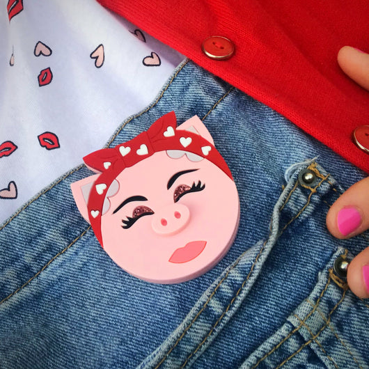 Rosie the riveter acrylic brooch